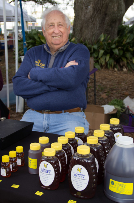 Sno Vincent is always eager to let you sample his line of raw Louisiana honey products.