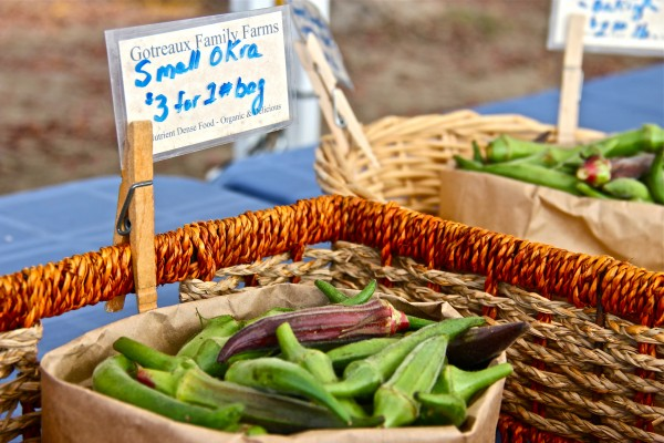 Okra from Gotreaux Family Farms located in Scott, Louisiana.