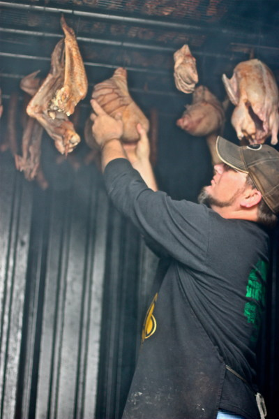 Jean Duos in his smokehouse