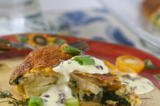 Frittata with lavender sauce