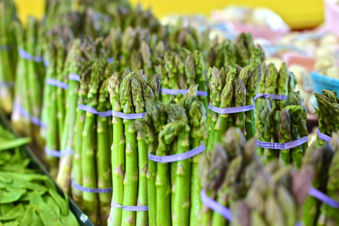 Stacks of asparagus stalks that are destiined for my Shrimp and Asparagus Salad - a Cajun recipe.