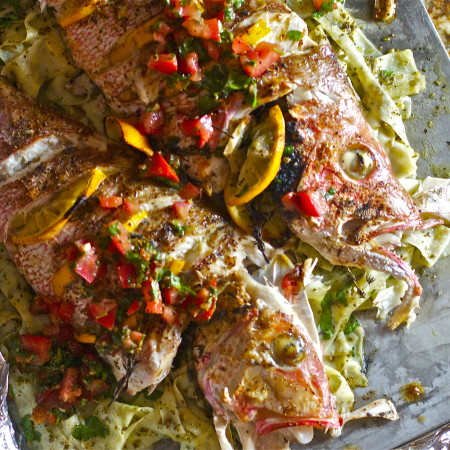 Roasted Red Snapper with Summer Salsa over Pesto Pappardelle