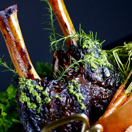 Beer-Braised Beef Shanks with Parsley Pecan Pesto
