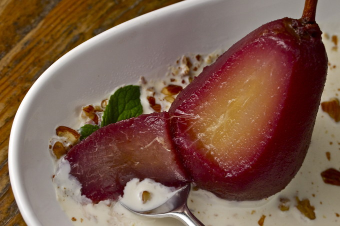 Bite of pear: Poached pears are one of my favorite Cajun recipes in my Cajun cooking collection of recipes.