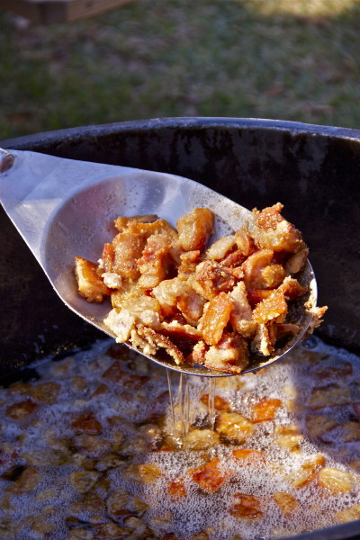 Crispy, crunchy cracklin'--a Cajun cooking tradition for hundreds of years.