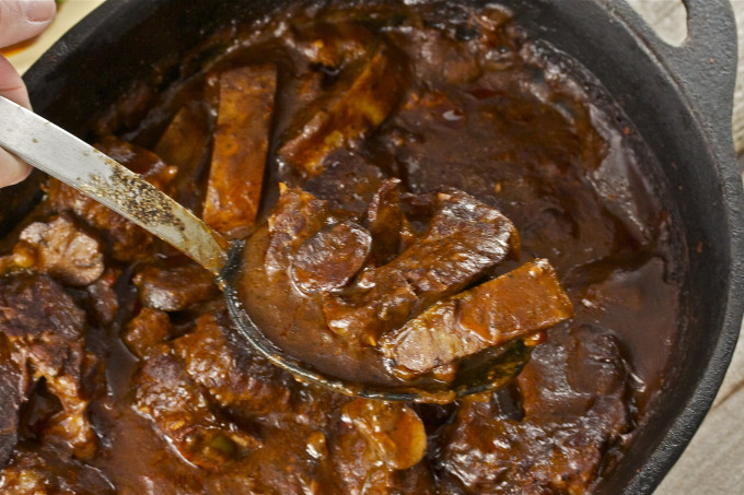 Spoonful of short ribs--Cajun cooking at its best.