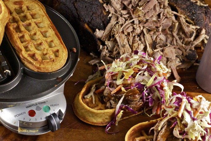 Pulled Pork on Sweet Potato Waffle