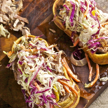 Pulled Pork Sandwich on Sweet Potato Waffle