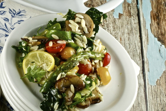 Orzo, Shrimp and Kale Salad--a fresh alternative for a new Cajun recipe.