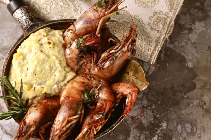 BBQ Louisiana Shrimp and Roasted Corn Grits is a classic Cajun recipe seen in Cajun cooking.