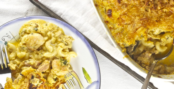 Plate of Seafood Mac and Cheese --an easy Cajun recipe.