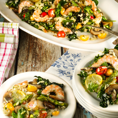 Orzo, Shrimp and Kale Salad