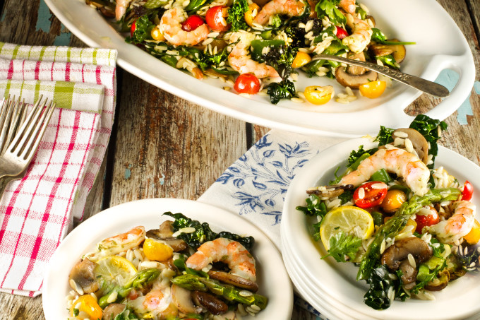 Orzo, Shrimp and Kale Salad is a tasty Cajun recipe.