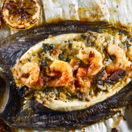 Whole Flounder stuffed with Louisiana Shrimp