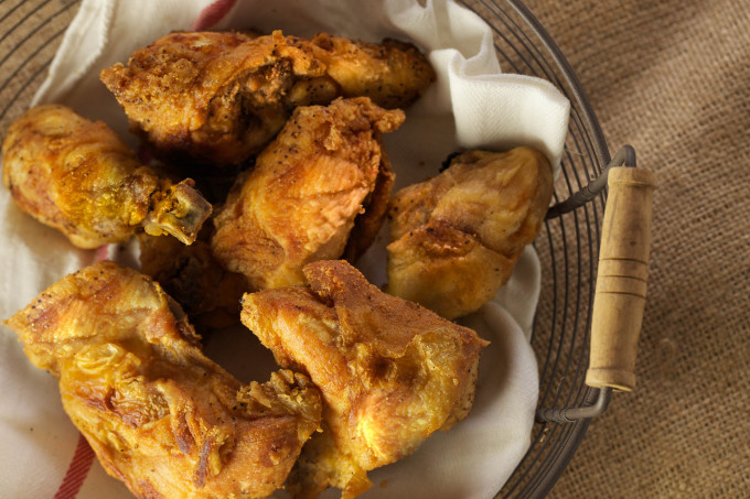 Moist and juicy on the inside and golden brown crispy on the outside. This is perfect Louisiana fried chicken.