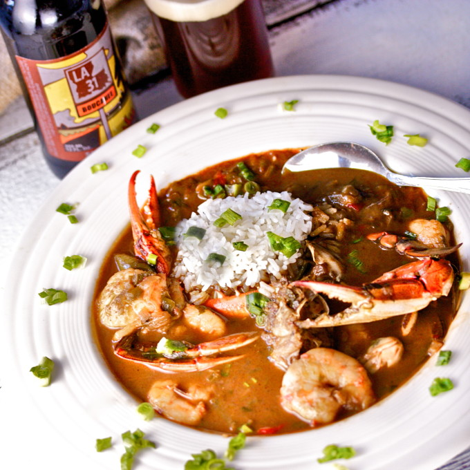 Seafood Gumbo: the most popular Cajun recipe from the coastal region.