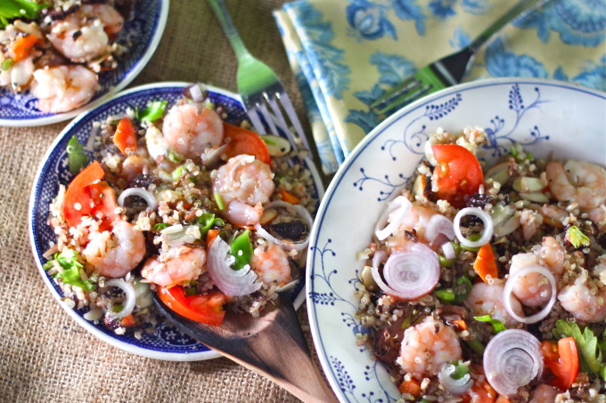 Quinoa with Louisiana shrimp make this a Cajun recipe classic.