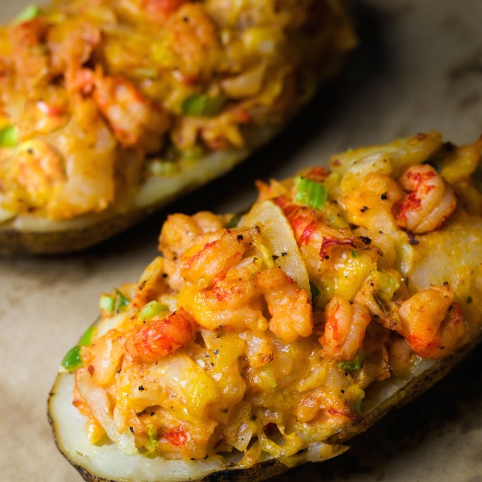 Crawfish Baked Potato is a spicy Cajun recipe.