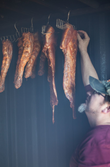 Jean Duos in his smokehouse.