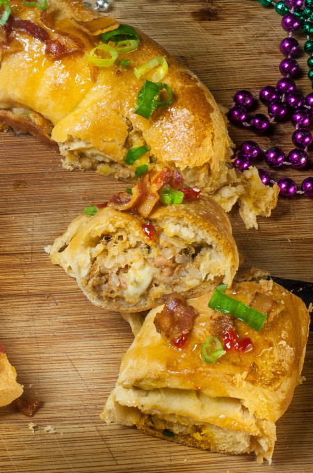 Melted cheese and spicy boudin royally redefines the Mardi Gras king cake.