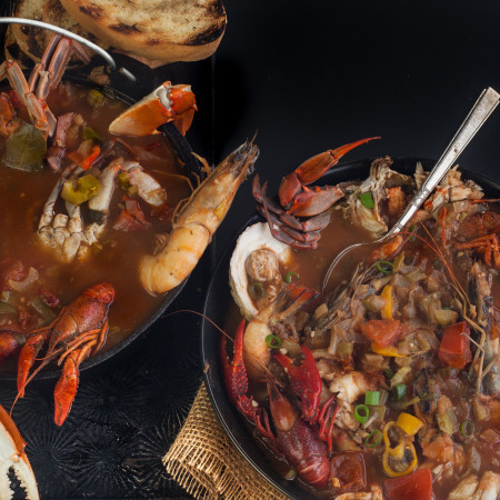 Louisiana seafood and Creole tomatoes combine in this South Louisiana fish soup. (All photos credit: George Graham)