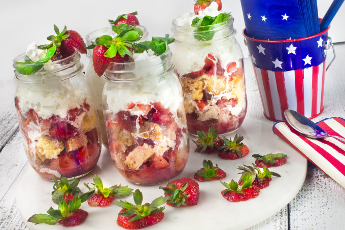 Ripe juicy strawberries on a mound of pound cake is at the center of this Strawberry Shortcake Jars dessert. (All photos credit: George Graham)