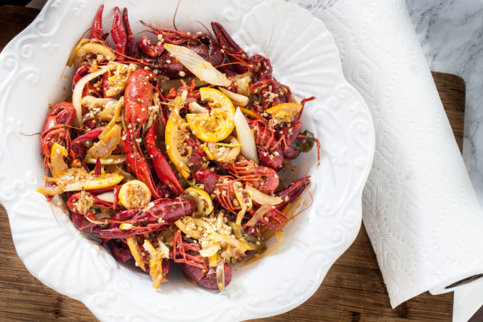 Spicy, buttery, garlicky, and citrusy--this Two-Step Boiled Louisiana Crawfish has a Vietnamese twist.