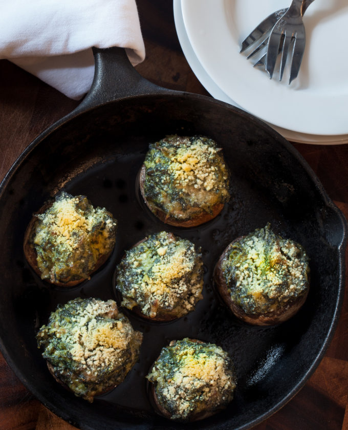 This Cajun recipe of Oyster-Stuffed Mushrooms are perfect as a party appetizer skillet.