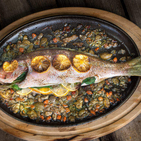 Baked Yellowtail Snapper with Herbs, Lemons, and Olives