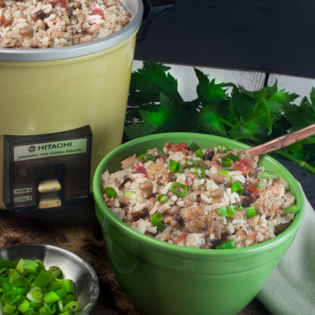 Prepared in a rice cooker, this jambalaya is both easy and tasty. (All photos credit: George Graham)