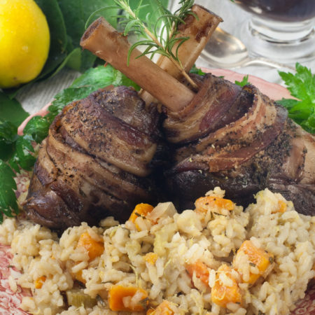 Pecan-Smoked Lamb Shanks with Sweet Potato Risotto