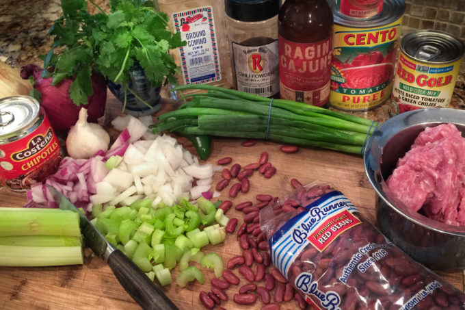 Spice and herbs flavor this red bean chili.