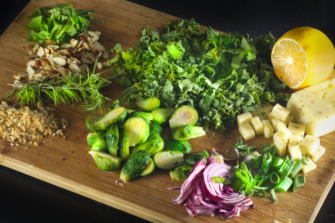 Blackened Brussels Salad Ingredients for a Cajun recipe.