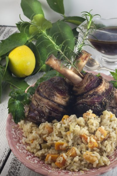 Hearty lamb shanks are succulent smoked on the bone and the sweet potato risotto is a light and airy pairing. Give it a try.