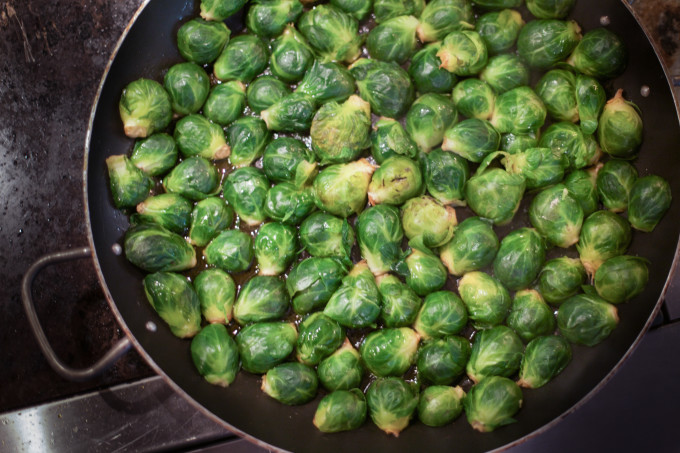 Pan frying Brussels for a Cajun recipe.