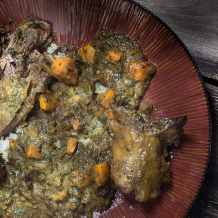 Teal Stuffed with Mustard Greens and Sweet Potatoes