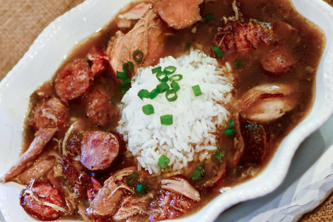 Chicken and smoked sausage gumbo worth begging for in this Cajun recipe. (All photos credit: George Graham)