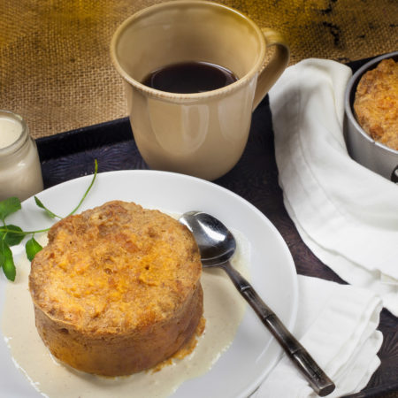 Custardy bread pudding made with glazed Meche's donuts--a Cajun favorite.  (All photos credit: George Graham)