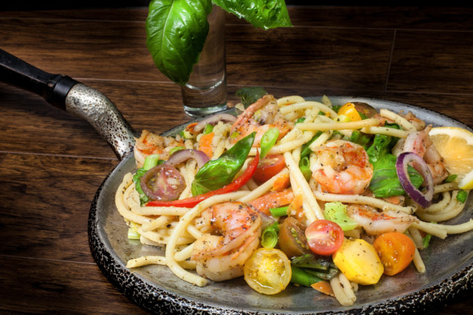 Gulf Shrimp Pasta Primavera: Cajun recipe and Cajun cooking with pasta.