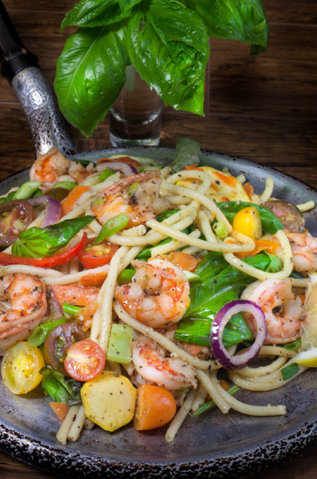 The fresh taste of spring in a light Gulf Shrimp Pasta Primavera recipe!