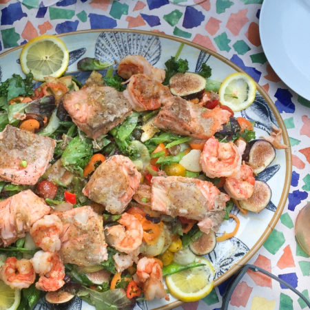 Salmon and Shrimp Salad with Grapefruit Vinaigrette