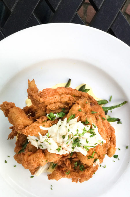 A tower of Fried Softshell Crabs.