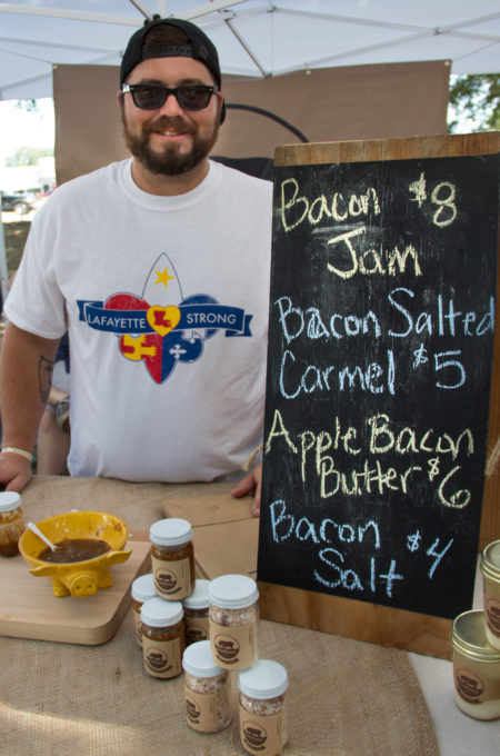 Dustie Latiolais brings his bacon jam--my new Bacon Jam Baked Brie ingredient--and other Cochon Cannery products to market every Saturday morning in Lafayette.