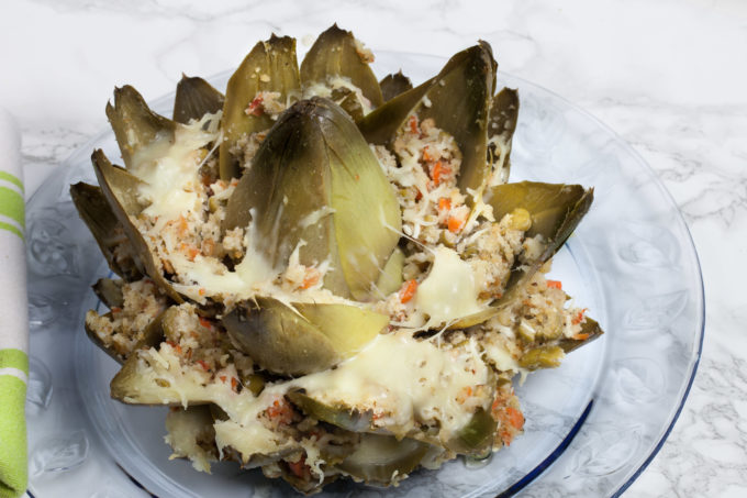 Oven-baked and dripping with olive oil , this simple Italian Stuffed Artichoke explodes with flavor. (All photos credit: George Graham)