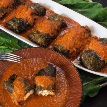 Stuffed Collard Rolls with Red Gravy