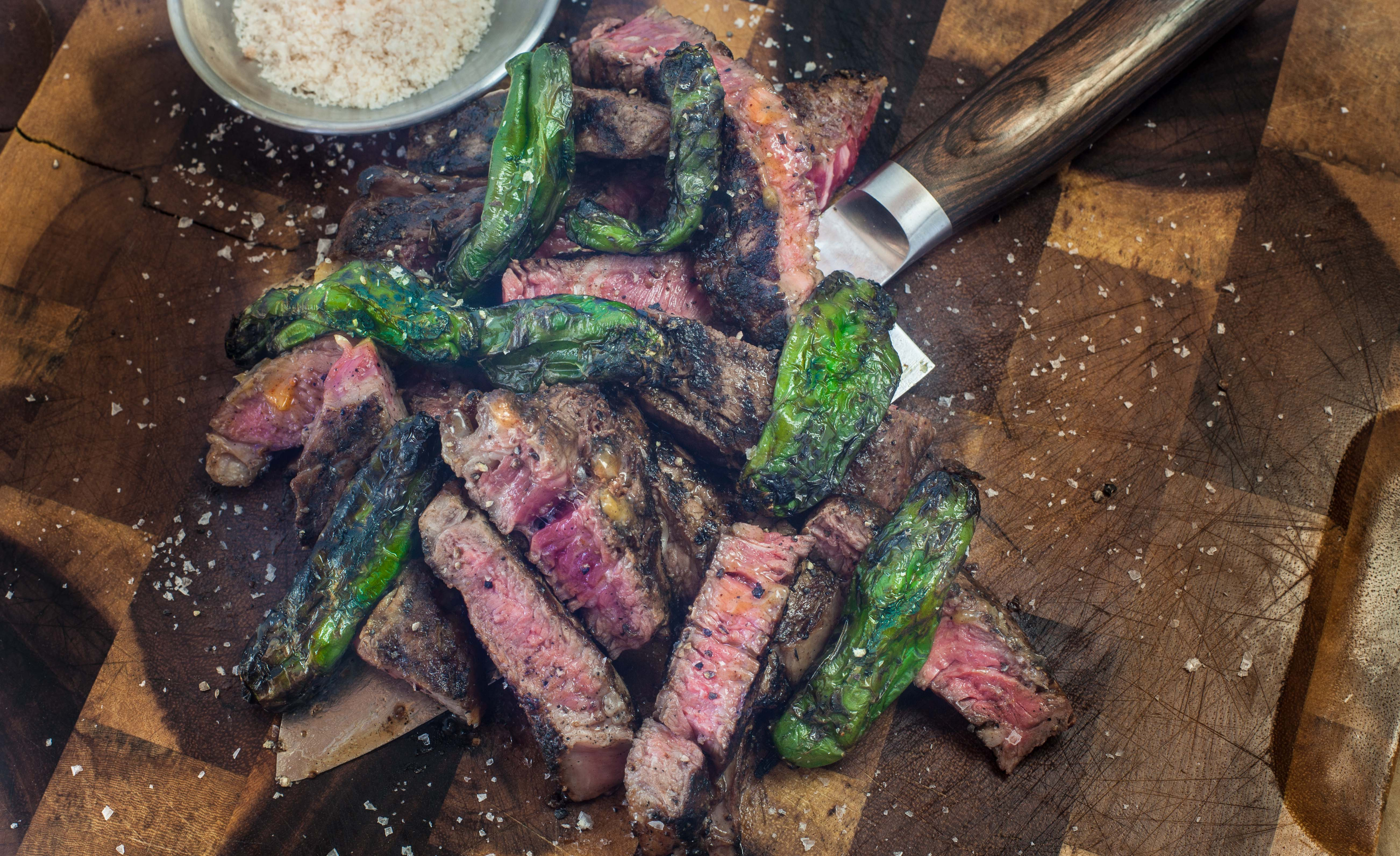 Ribeye Steak And Blistered Shishitos Fires And Inspires
