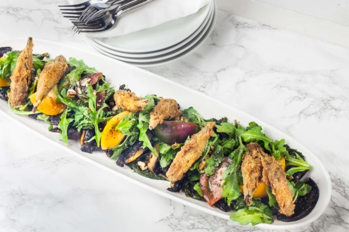 Portobello mushrooms are the star of this all-vegetable salad. (All photos credit: George Graham)