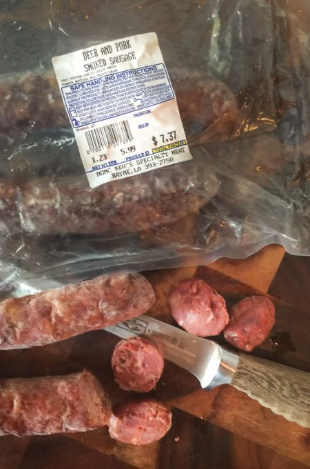 Deer sausage from Cajun country has deep smoky flavor.