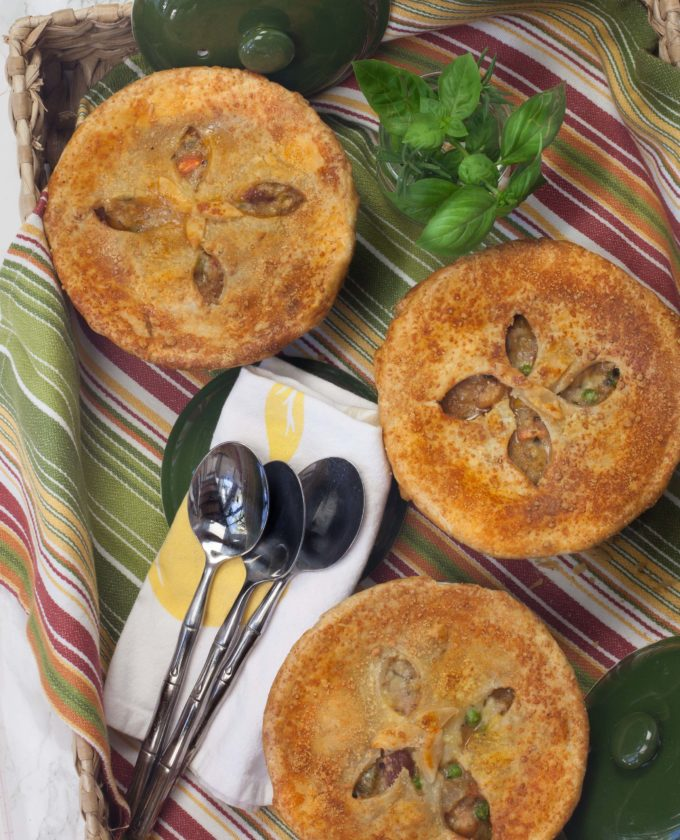 Golden brown and hot out of the oven--these Shrimp and Mirliton Pot Pies are delightful.