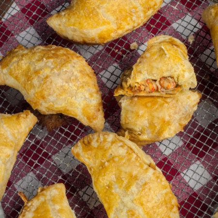 Crispy pastry surrounds a spicy crawfish filling in these classic hand pies.  (All photos credit: George Graham)